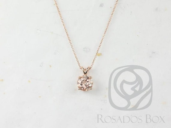 Rosados Box Donna 8mm 14kt Rose Gold Round Morganite Leaf Gallery Basket Solitaire Necklace