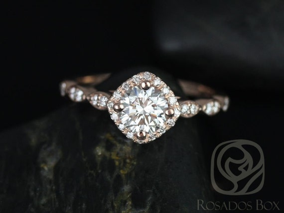0.75cts Round Forever One Moissanite Diamonds Kite Halo WITHOUT Milgrain Engagement Ring, 14kt Solid Rose Gold, Katya 6mm, Rosados Box