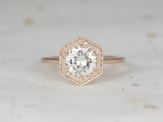 1.25ct Round Forever One Moissanite Diamonds Hexagon Halo WITH Milgrain Engagement Ring,14kt Solid Rose Gold,Willis 7mm,Rosados Box
