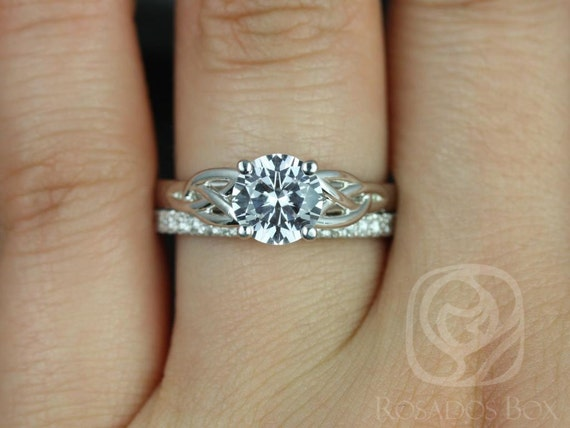McCara 7mm & Pernella 14kt White Gold Round White Sapphire Celtic Love Knot Triquetra Wedding Set Rings,Rosados Box