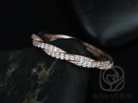 Rosados Box 14kt Rose Gold Matching Band to Twyla Diamond ALMOST Eternity Band