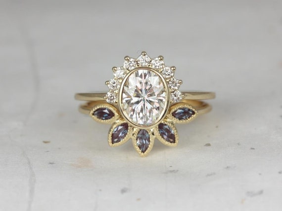 1.50ct Oksana 8x6mm & Petunia 14kt Gold Forever One Moissanite Diamond Alexandrite Unique Halo Wedding Set Rings,Rosados Box