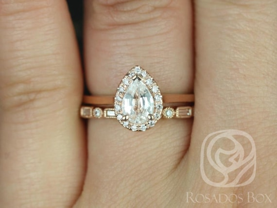 Rosados Box Julie 7x5mm & Ivanna 14kt Rose Gold Pear White Sapphire Diamond Halo Wedding Set Rings