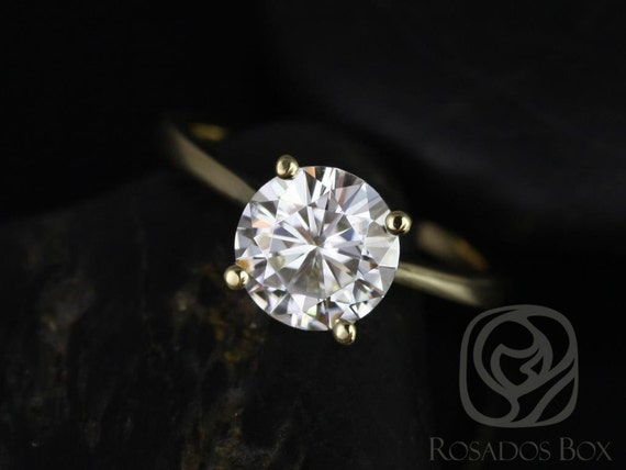 2ct Skinny Flora 8mm 14kt Gold Forever One Moissanite Dainty Petite Cathedral Round Solitaire Engagement Ring,Rosados Box