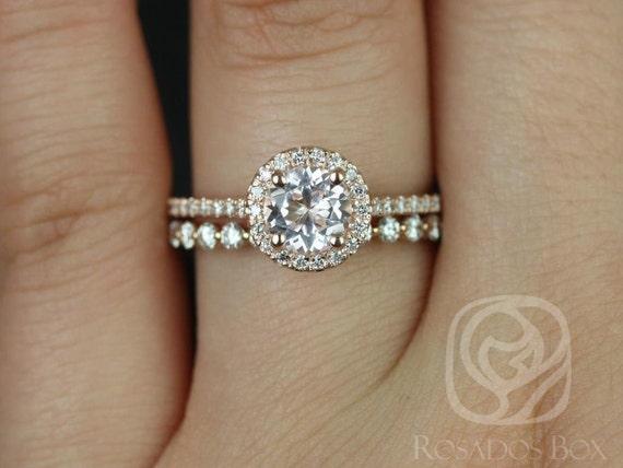 Rosados Box Kubian 6mm & Petite Naomi 14kt Rose Gold Round Morganite and Diamonds Halo Wedding Set