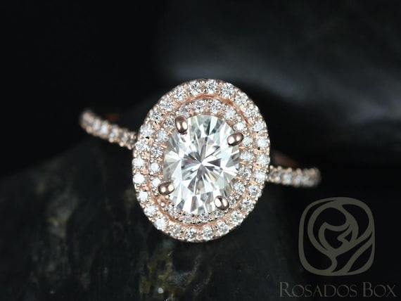 1.50ct Oval Forever One Moissanite Diamonds Thin Double Halo Engagement Ring,14kt Rose Gold,Cara 8x6mm,Rosados Box  14kt Rose Gold