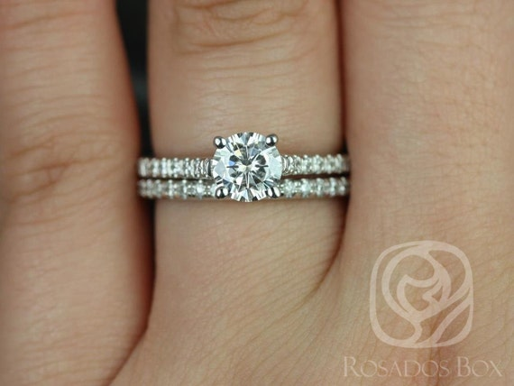 Rosados Box Eva 6mm Platinum Round Forever One Moissanite and Diamonds Cathedral Wedding Set