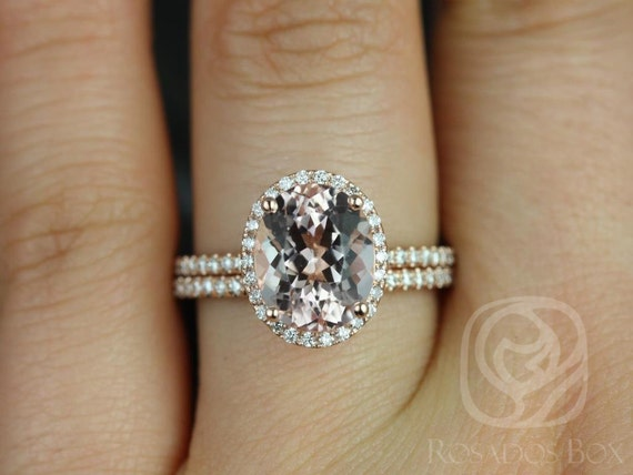 Rosados Box Jessica 10x8mm Original Size 14kt Rose Gold Oval Morganite Diamond Halo Wedding Set Rings