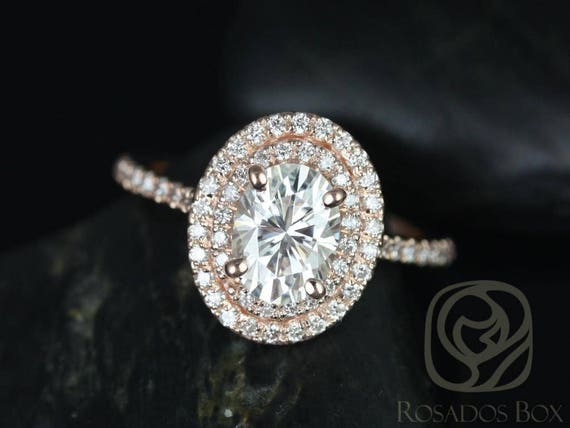 SALE Rosados Box Ready to Ship Cara 8x6mm 14kt Rose Gold Oval FB Moissanite Diamonds Thin Double Halo Engagement Ring