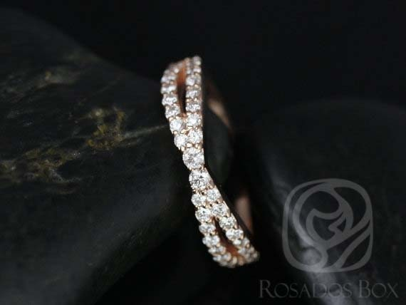 Ready to Ship Lima 14kt Rose Gold Infinity Criss Cross Dainty Diamond HALFWAY Band Ring,Rosados Box