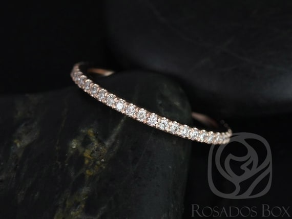 Dainty Micro Pave Diamond Matching Band Kubian 7mm /Samina 7mm Diamonds ALMOST Eternity Ring,14kt Rose Gold,Rosados Box