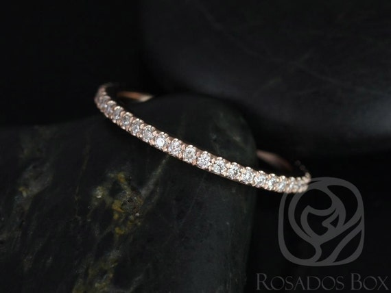 14kt Rose Gold Dainty Micro Pave Diamond Matching Band Kubian 7mm /Samina 7mm Diamonds ALMOST Eternity Ring,Rosados Box