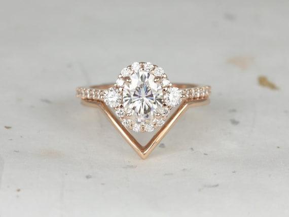 Rosados Box Bridgette 8x6mm & Femme 14kt Rose Gold Oval Forever One Moissanite Diamonds Halo Chevron Wedding Set