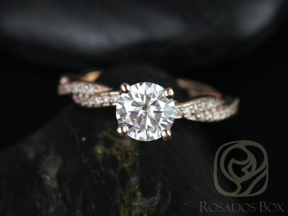 Rosados Box Twyla 6.5mm 14kt Rose Gold Round F1- Moissanite & Diamond Twist Engagement Ring