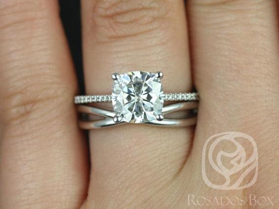 2.40cts Marcelle 8mm & PLAIN Skinny Lima 14kt White Gold Forever One Moissanite Diamond Dainty Cushion Wedding Set Rings,Rosados Box