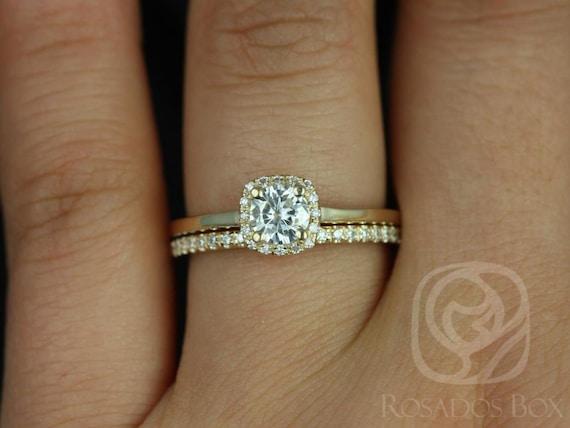 Forever One Moissanite Diamonds Cushion Halo Wedding Set Rings , 14kt Solid White Gold , Bella 5mm & Romani , Rosados Box