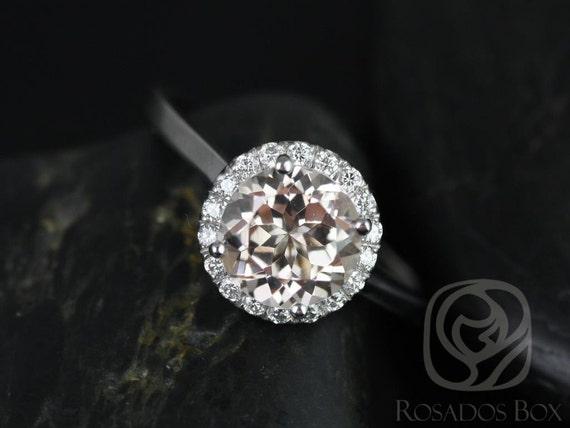 Rosados Box Monique 8mm 14kt White Gold Round Morganite and Diamonds Halo Engagement Ring