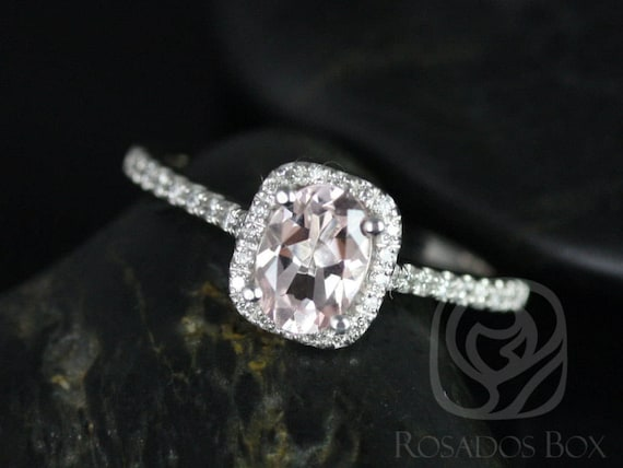Rosados Box Ready to Ship Romani 7x5mm 14kt White Gold Morganite and Diamonds Cushion Halo Engagement Ring