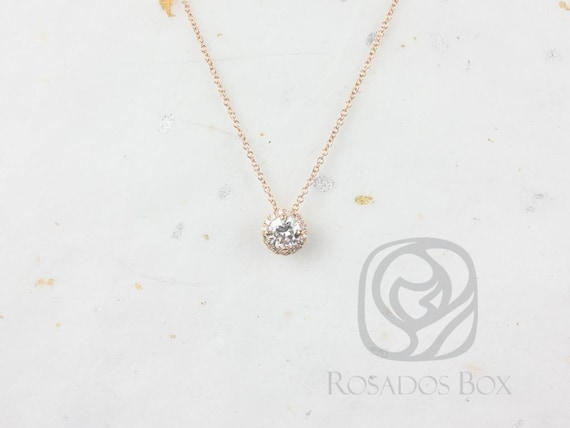 Rosados Box Ready to Ship Gemma 5mm 14kt WHITE Gold Round Forever One Moissanite Diamonds Halo Floating Necklace