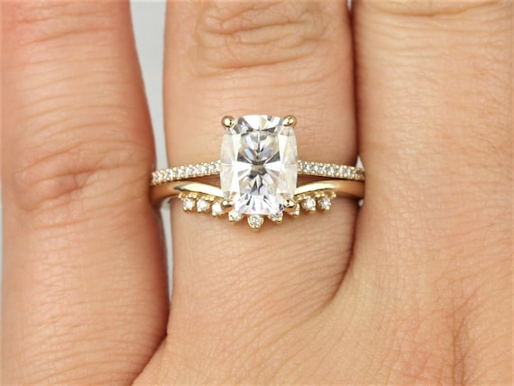 2.30cts Blair 9x7mm & Lonnie 14kt Solid Gold Forever One Moissanite Diamond Dainty Rectangle Cushion Unique Wedding Set Rings,Rosados Box