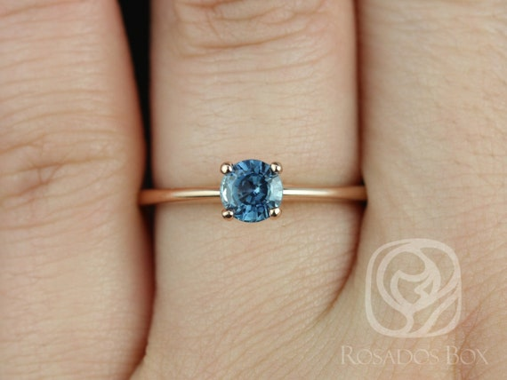 Rosados Box Ready to Ship Skinny Alberta 0.74cts 14kt Rose Gold Round Teal Blue Sapphire Classic Engagement Ring