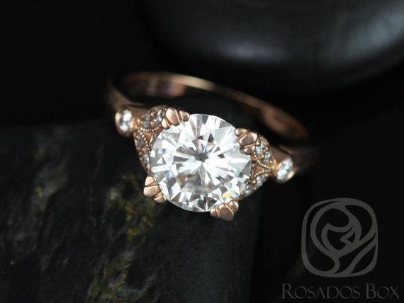 Rosados Box Antoinette 8.5mm 14kt Rose Gold Round Forever One Moissanite and Diamonds Vintage Milgrain Engagement Ring