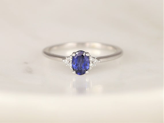 Juniper 6x4mm 14kt Gold Blue Sapphire Diamonds Dainty Oval Cluster 3 Stone Stack Ring,Rosados Box