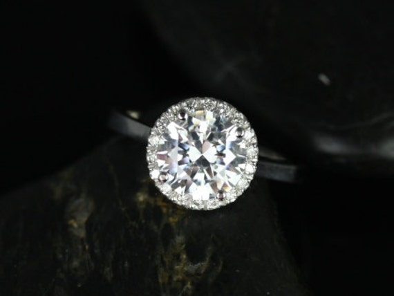 Rosados Box Monique 8mm 14kt White Gold Round F1- Moissanite and Diamonds Halo Engagement Ring