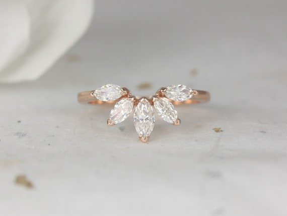 Cardi 14kt Rose Gold Marquise Forever One Moissanite Minimalist Fan Tiara Nesting Ring,Rosados Box