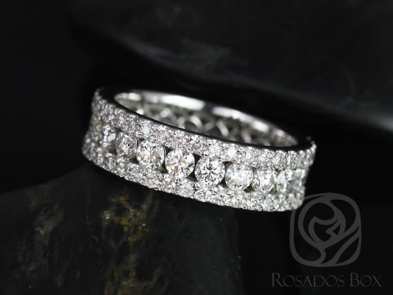 Rosados Box Haena 14kt White Gold Floating Shared Prong Channel Diamond FULL Eternity Band
