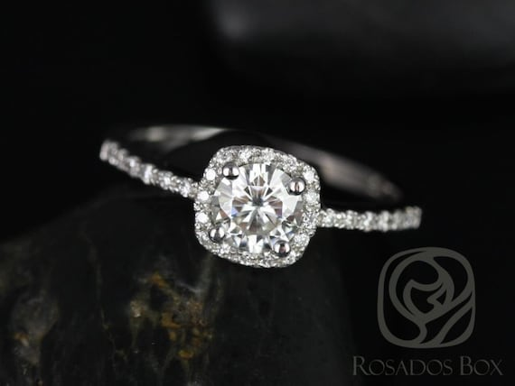 Rosados Box Ready to Ship Barra 5mm 14kt ROSE Gold Round Forever One Moissanite Diamond Thin Cushion Halo Engagement Ring