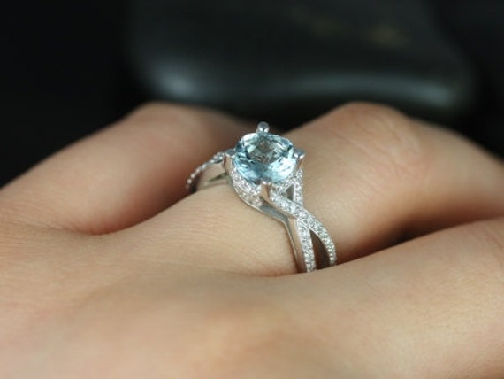 Rosados Box Emma 7mm 14kt White Gold Round Aquamarine & Diamonds Vintage Pave Engagement Ring