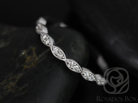 14kt Solid White Gold Scalloped Art Deco Diamonds WITH Milgrain Matching Band Christie/Katya/Sunny HALFWAY Eternity Ring,Rosados Box