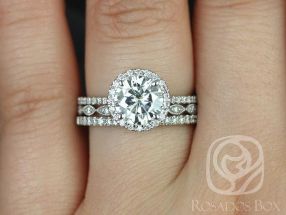 1.50ct Round Forever One Moissanite Diamond Thin Halo TRIO Wedding Set Rings Rings,14kt White Gold,Kimberly 7.5mm & Ult Pte Leah,Rosados Box