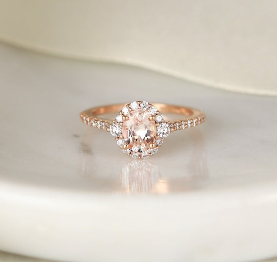 1.29cts Ready to Ship Bridgette 14kt Rose Gold Oval Peach Sapphire Diamonds 3 Stone Unique Oval Halo Engagement Ring,Rosados Box