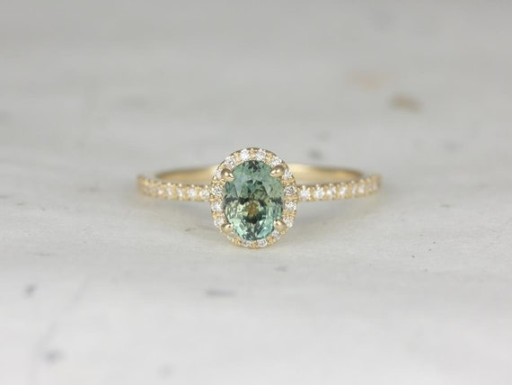 Rosados Box Ready to Ship Federella 1.02cts 14kt Yellow Gold Oval Jungle Teal Sapphire Diamond Halo Engagement Ring