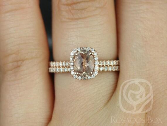 Rosados Box Romani 7x5mm 14kt Rose Gold Oregon Sunstone and Diamond  Cushion Halo Wedding Set