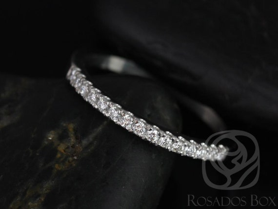 14kt White Gold Matching Band to 9mm or 10mm  Barra/Samina Medium Diamond Dainty Micropave HALFWAY Eternity Band,Rosados Box