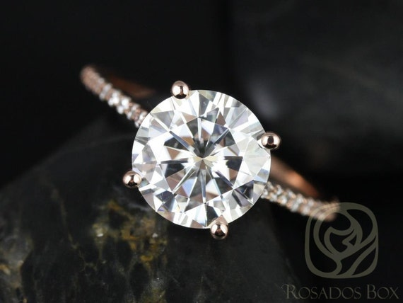 Rosados Box Ready to Ship Eloise 9mm Engagement Ring 14kt WHITE Gold Round F1- Moissanite and Diamonds Cathedral