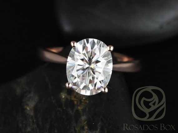 SALE Rosados Box Ready to Ship Skinny Lois 10x8mm 14kt Rose Gold Oval FB Moissanite Tulip Cathedral Solitaire Engagement Ring