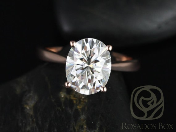 Ready to Ship Rosados Box Skinny Lois 10x8mm 14kt WHITE Gold Oval F1- Moissanite Tulip Cathedral Solitaire Engagement Ring