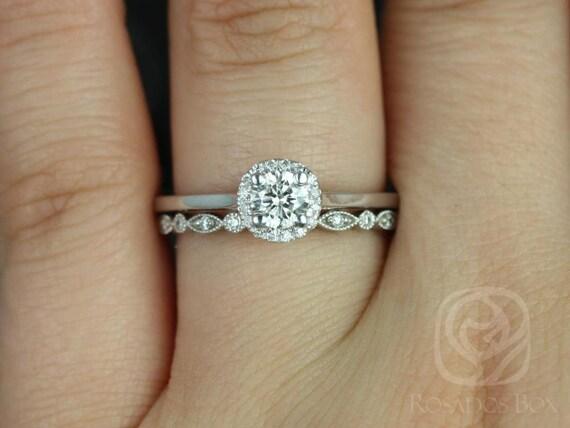 Amerie 4.5mm & Gwen 14kt White Gold Forever One Moissanite Diamonds Art Deco Pave Round Halo Wedding Set Rings,Rosados Box