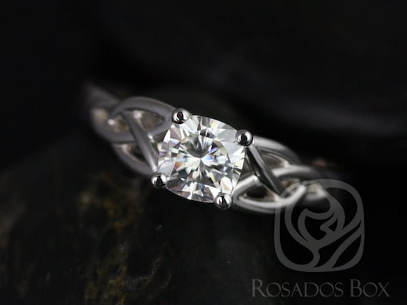 Rosados Box MaryBeth 5.5mm 14kt White Gold Cushion F1- Moissanite Celtic Knot Engagement Ring (Other Metals and Stone Options Available)