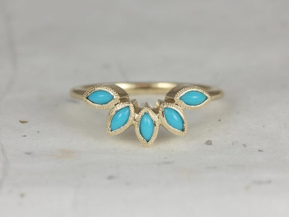 Rosados Box Petunia 14kt Yellow Gold Marquise Turquoise Leaves WITH Milgrain Tiara Nesting Ring