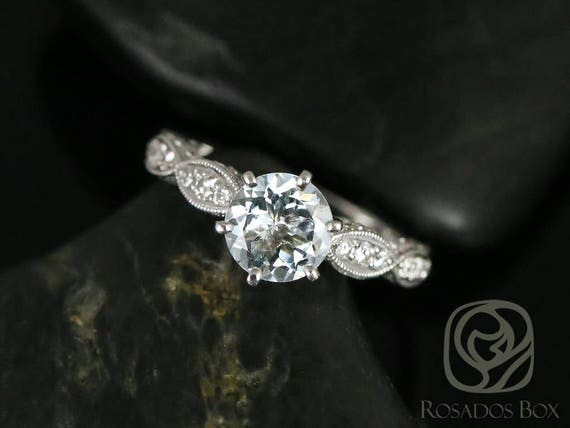 Rosados Box Beatrice 7mm 14kt White Gold Round Aquamarine Diamonds Pave Cathedral Leaves  Engagement Ring
