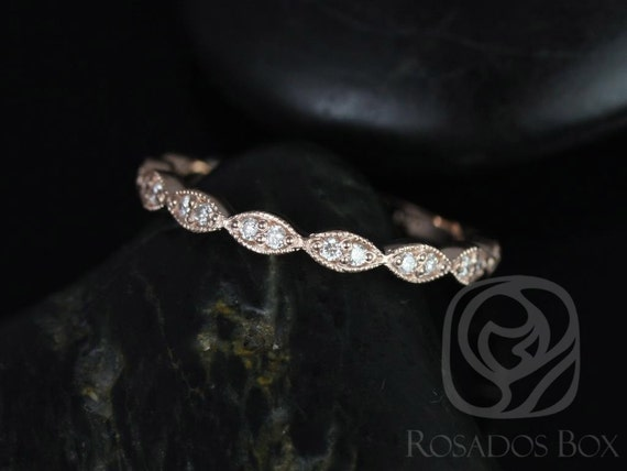 14kt Solid Rose Gold Art Deco Diamonds WITH Milgrain Leaves Matching Band Christie/Katya/Sunny/Samantha ALMOST Eternity Ring,Rosados Box