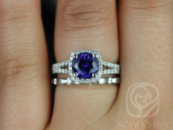Rosados Box Pasley 7mm & Juno 14kt White Gold Blue Sapphire and Diamonds Cushion Halo Split Wedding Set