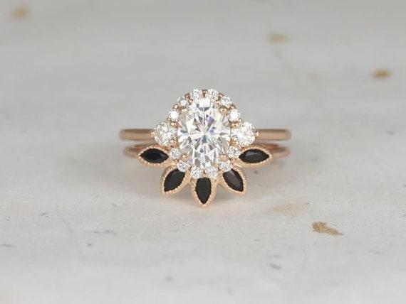 Rosados Box Britney 8x6mm & Petunia 14kt Rose Gold Oval Forever One Moissanite Diamonds Onyx Nesting Halo Wedding Set
