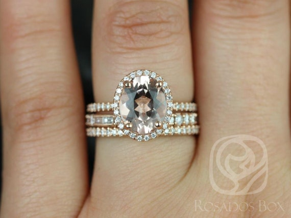 Rosados Box Original Jessica 10x8 mm & Gabriella 14kt Rose Gold Oval Morganite Diamond Halo TRIO Wedding Set Rings