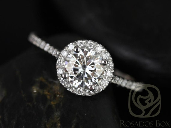 0.75ct Round Forever One Moissanite Diamonds Micro Pave Dainty Halo Engagement Ring,14kt White Gold,Kubian 6mm,Rosados Box